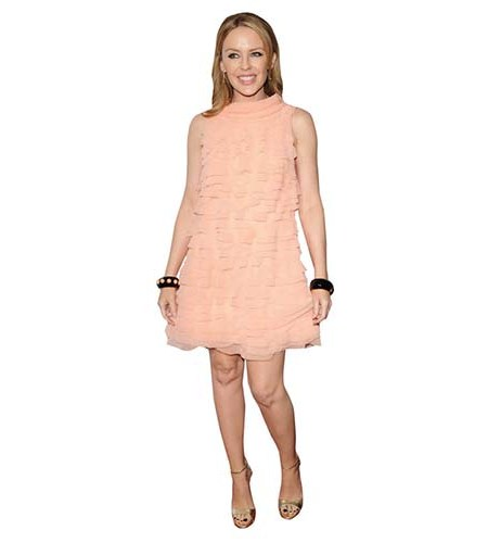 A Lifesize Cardboard Cutout of Kylie Minogue wearing a pink dress