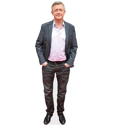 A Lifesize Cardboard Cutout of Louis Walsh wearing blazer and jeans