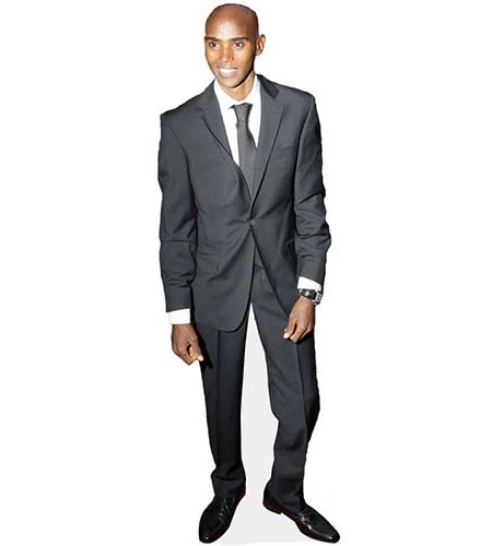 A Lifesize Cardboard Cutout of Mo Farah wearing a suit