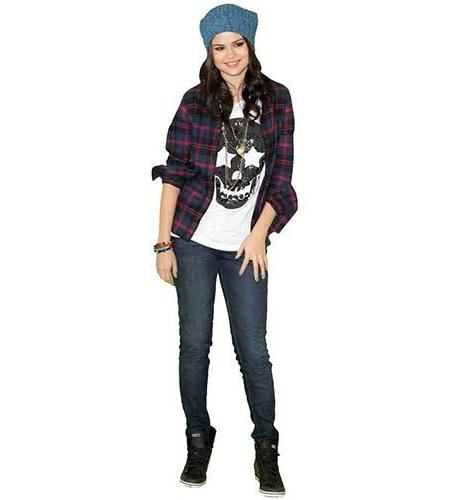 A Lifesize Cardboard Cutout of Selena Gomez wearing jeans