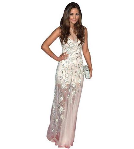 A Lifesize Cardboard Cutout of Jacqueline Jossa wearing an elegant outfit