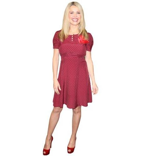 A Lifesize Cardboard Cutout of Melinda Messenger wearing a red dress
