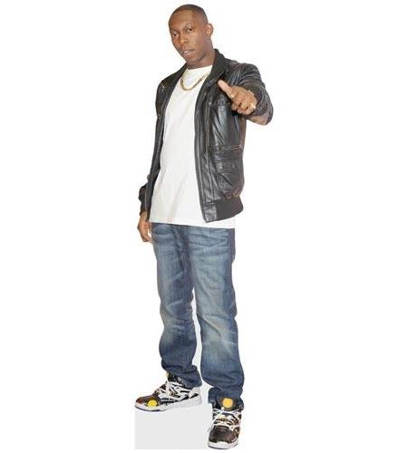 A Lifesize Cardboard Cutout of Dizzee Rascal wearing t-shirt and leather jacket