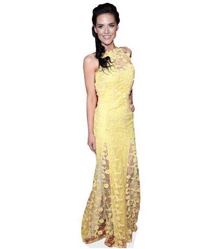 A Lifesize Cardboard Cutout of Stephanie Waring wearing a yellow dress