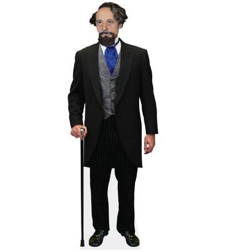 A Lifesize Cardboard Cutout of Charles Dickens holding a cane