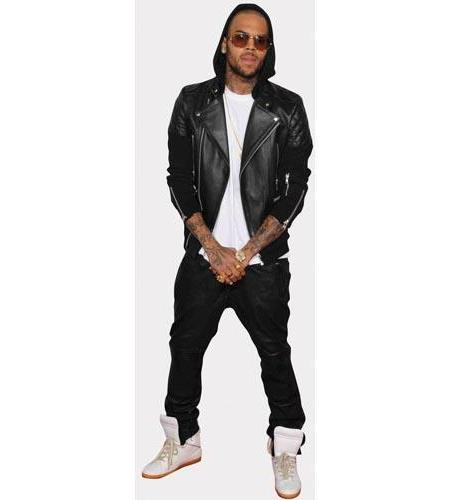A Lifesize Cardboard Cutout of Chris Brown wearing a hoodie