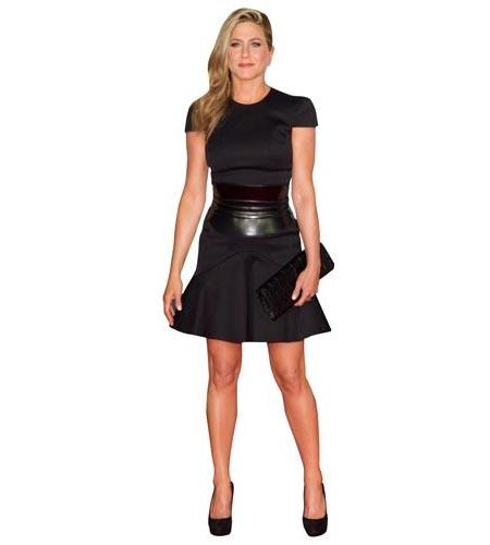 A Lifesize Cardboard Cutout of Jennifer Aniston wearing a black dress