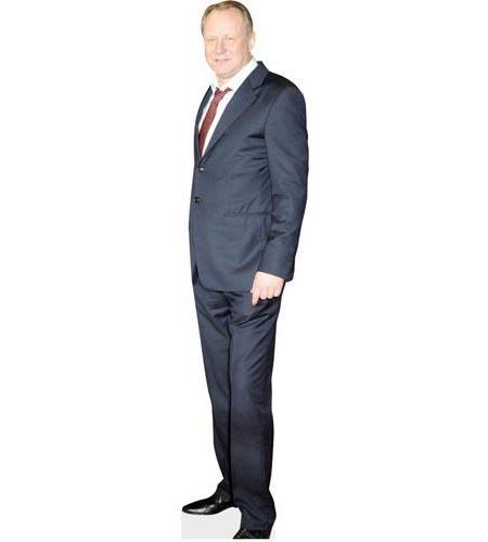 A Lifesize Cardboard Cutout of Stellan Skarsgard wearing a blue suit