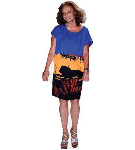 A Lifesize Cardboard Cutout of Diane Von Furstenberg wearing a striking dress