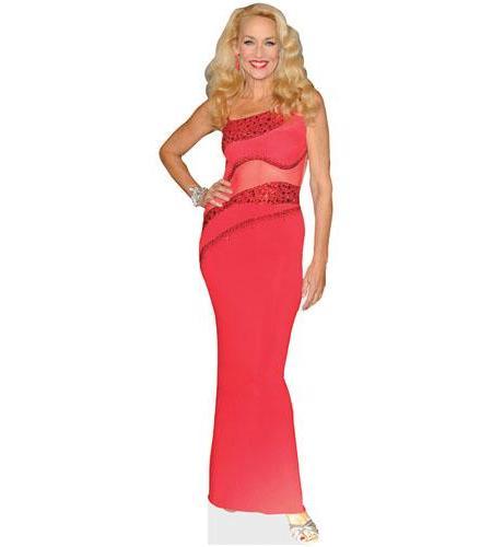 A Lifesize Cardboard Cutout of Jerry Hall wearing a red dress