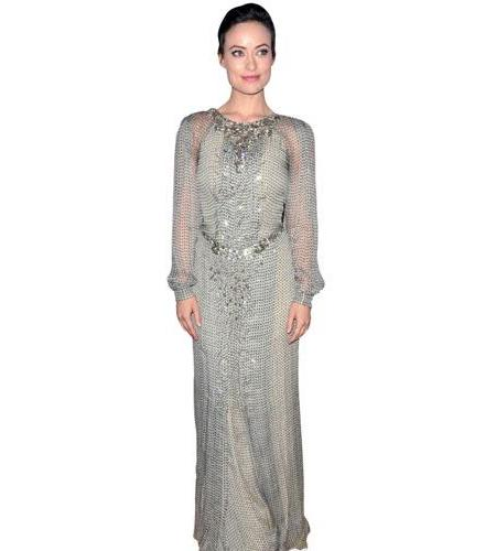 A Lifesize Cardboard Cutout of Olivia Wilde wearing a gown