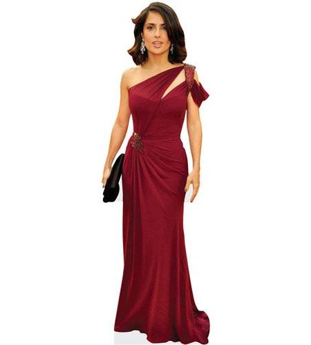 A Lifesize Cardboard Cutout of Salma Hayek wearing a gown