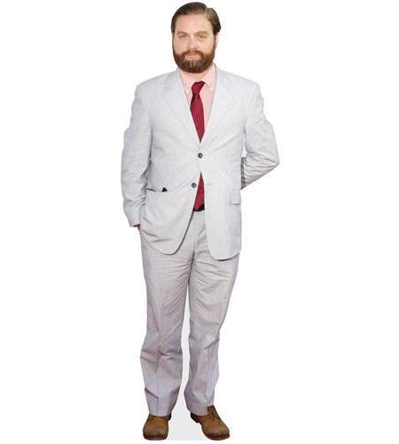 A Lifesize Cardboard Cutout of Zach Galifianakis wearing a suit