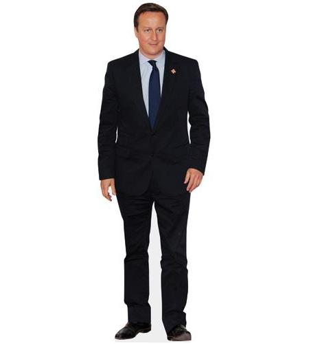 A cardboard cutout of David Cameron wearing a suit