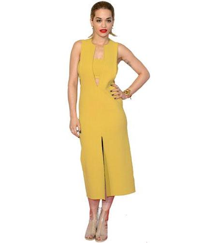 A Lifesize Cardboard Cutout of Rita Ora wearing yellow