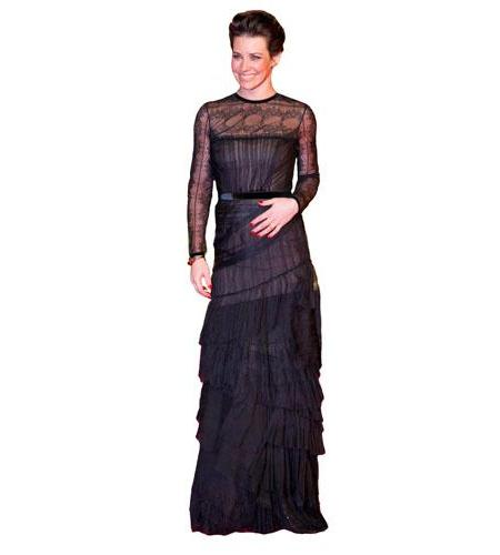 A Lifesize Cardboard Cutout of Evangeline Lilly wearing a gown