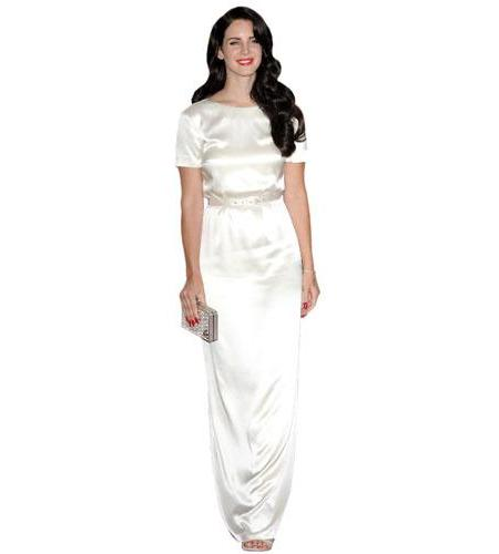 A Lifesize Cardboard Cutout of Lana Del Rey wearing a white gown