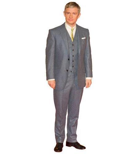 A Lifesize Cardboard Cutout of Martin Freeman wearing a suit