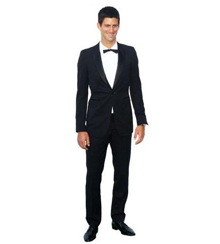 A Lifesize Cardboard Cutout of Novak Djokovic wearing a suit