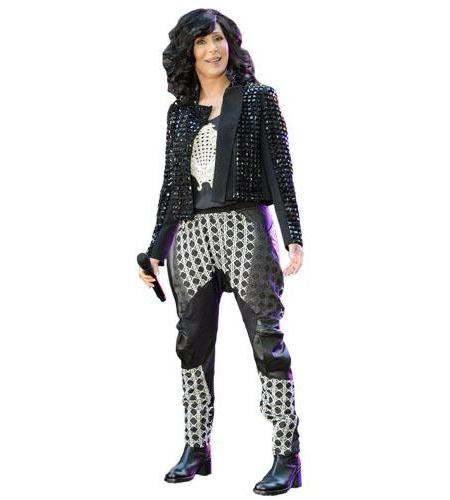 A Lifesize Cardboard Cutout of Cher wearing leather