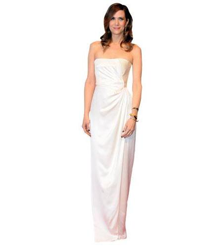 A Lifesize Cardboard Cutout of Kristen Wiig wearing a white gown