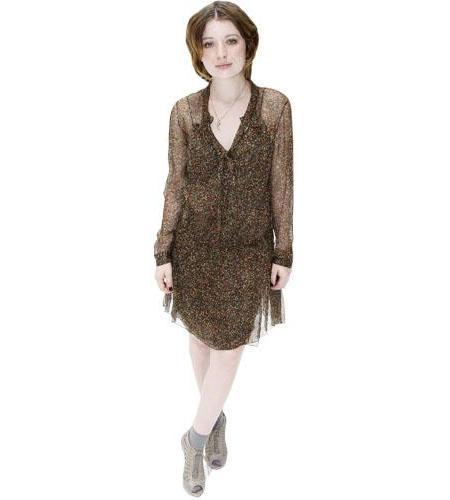 A Lifesize Cardboard Cutout of Emily Browning wearing a dress