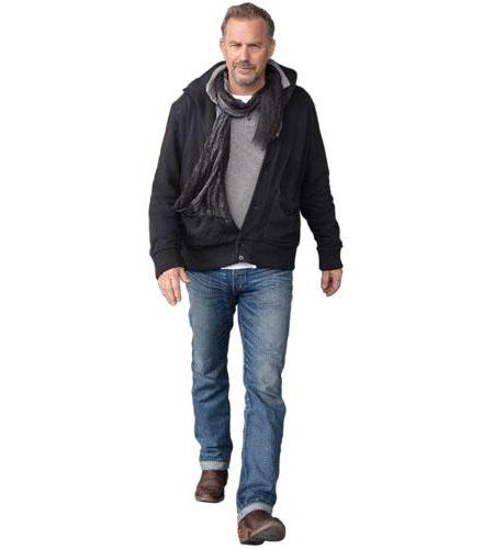A Lifesize Cardboard Cutout of Kevin Costner wearing a jacklet