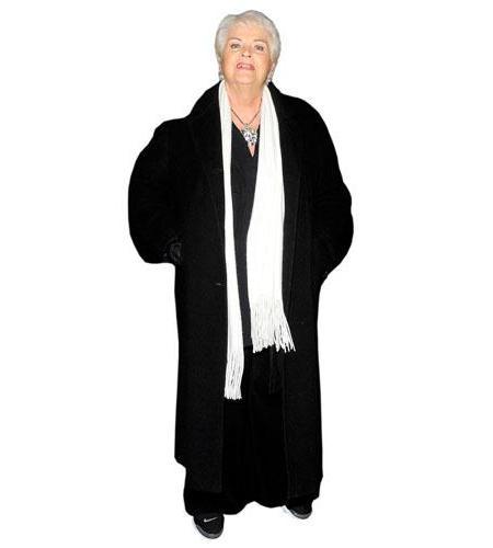 A Lifesize Cardboard Cutout of Pam St. Clement wearing a big coat
