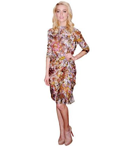 A Lifesize Cardboard Cutout of Amber Heard wearing a floral dress