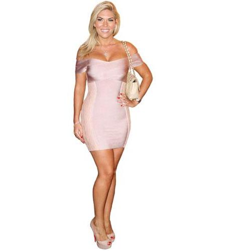 A Lifesize Cardboard Cutout of Frankie Essex wearing a pink dress