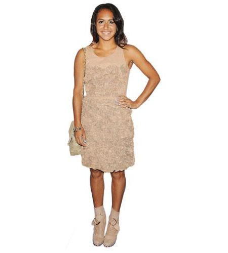 A Lifesize Cardboard Cutout of Heather Watson wearing a dress