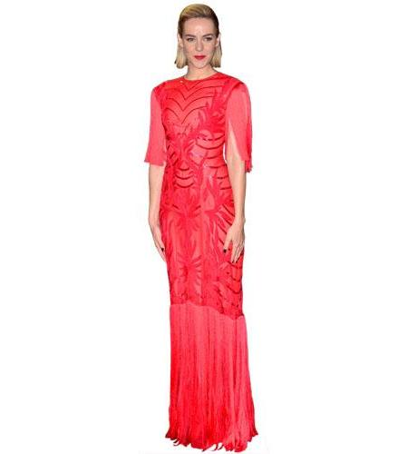 A Lifesize Cardboard Cutout of Jena Malone wearing a gown