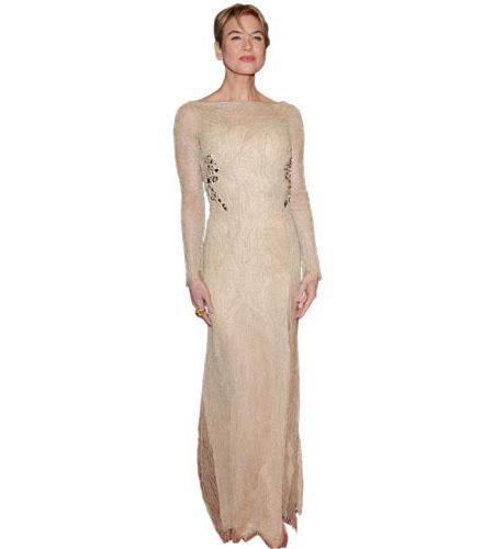 A Lifesize Cardboard Cutout of Reneee Zellweger wearing a gown