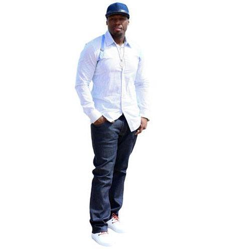 A Lifesize Cardboard Cutout of 50 Cent wearing a casual shirt