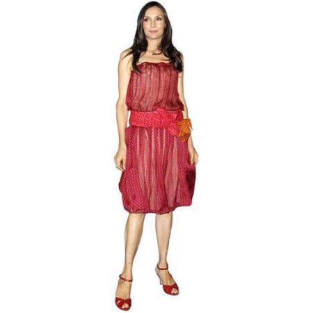 A Lifesize Cardboard Cutout of Famke Janssen wearing a red dress