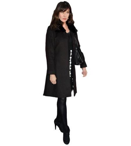 A Lifesize Cardboard Cutout of Ronni Ancona wearing a coat