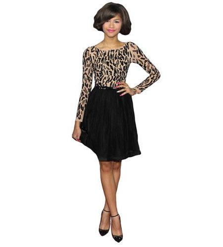 A Lifesize Cardboard Cutout of Zendaya wearing a skirt
