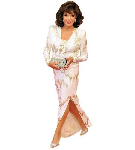 A Lifesize Cardboard Cutout of Joan Collins wearing a dress