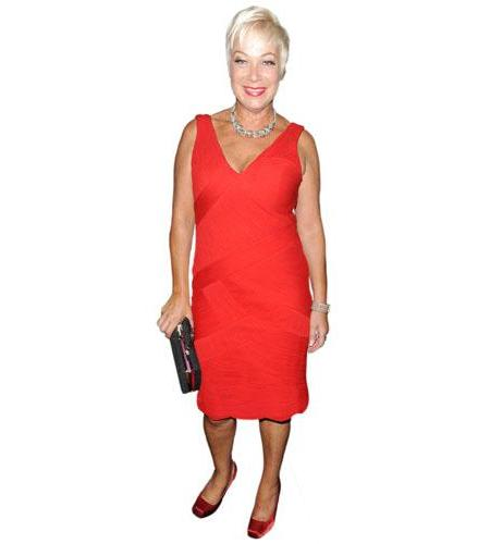 A Lifesize Cardboard Cutout of Denise Welch wearing a red dress