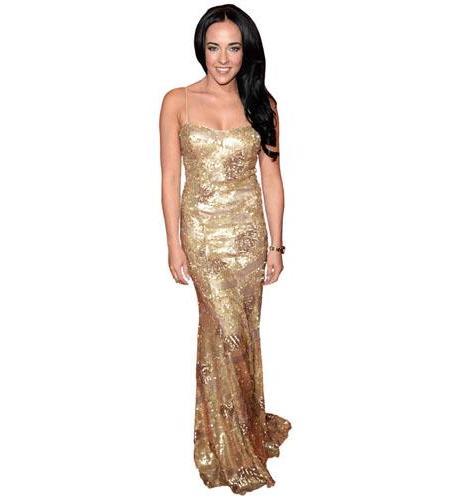 A Lifesize Cardboard Cutout of Stephanie Davis wearing a gold dress