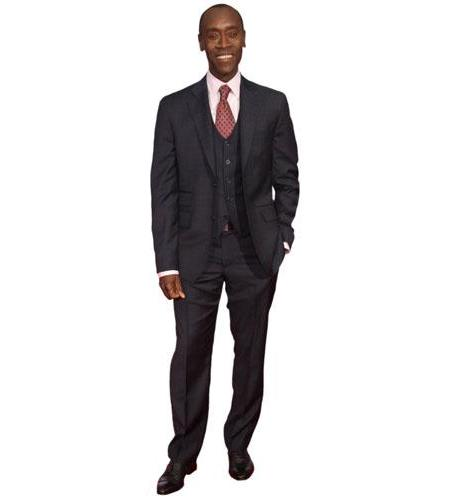 A Lifesize Cardboard Cutout of Don Cheadle wearing a shirt