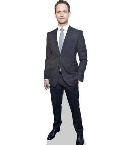 A Lifesize Cardboard Cutout of Patrick J Adams wearing a suit