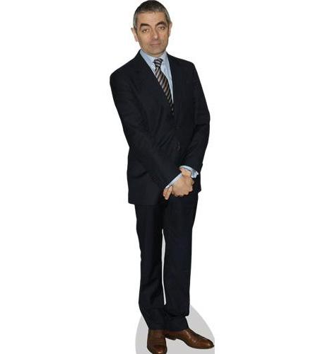 A Lifesize Cardboard Cutout of Rowan Atkinson wearing a tie