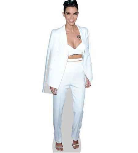 A Lifesize Cardboard Cutout of Ruby Rose wearing a white suit