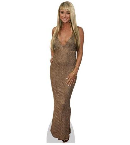 A Lifesize Cardboard Cutout of Sara Jean Underwood wearing a gold dress