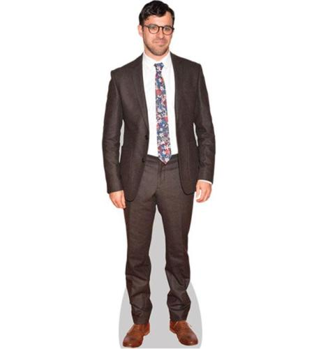 A Lifesize Cardboard Cutout of Simon Bird wearing a brown suit
