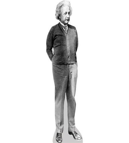 A Lifesize Cardboard Cutout of Albert Einstein (B&W)