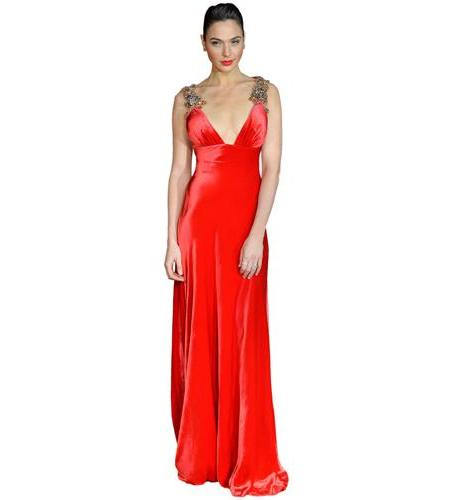 A Lifesize Cardboard Cutout of Gal Gadot wearing a red dress