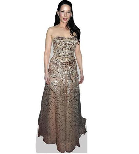 A Lifesize Cardboard Cutout of Lucy Liu wearing a gown