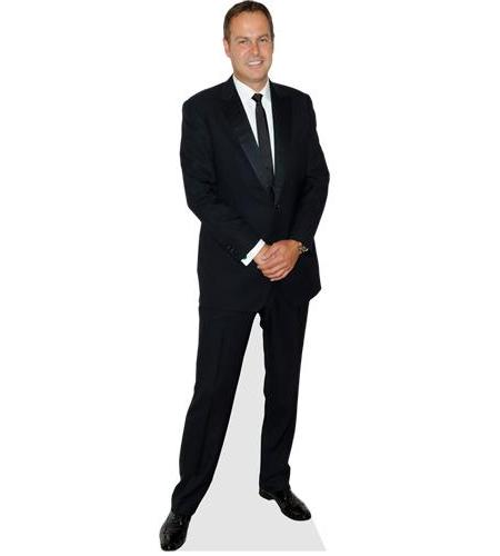 A Lifesize Cardboard Cutout of Peter Jones wearing a black suit